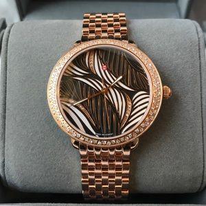 Michele Serein Diamond Rose-Gold Willow Dial Watch